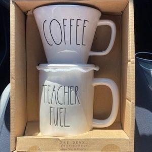 RAE DUNN TEACHER COFFEE FUEL MUG SET